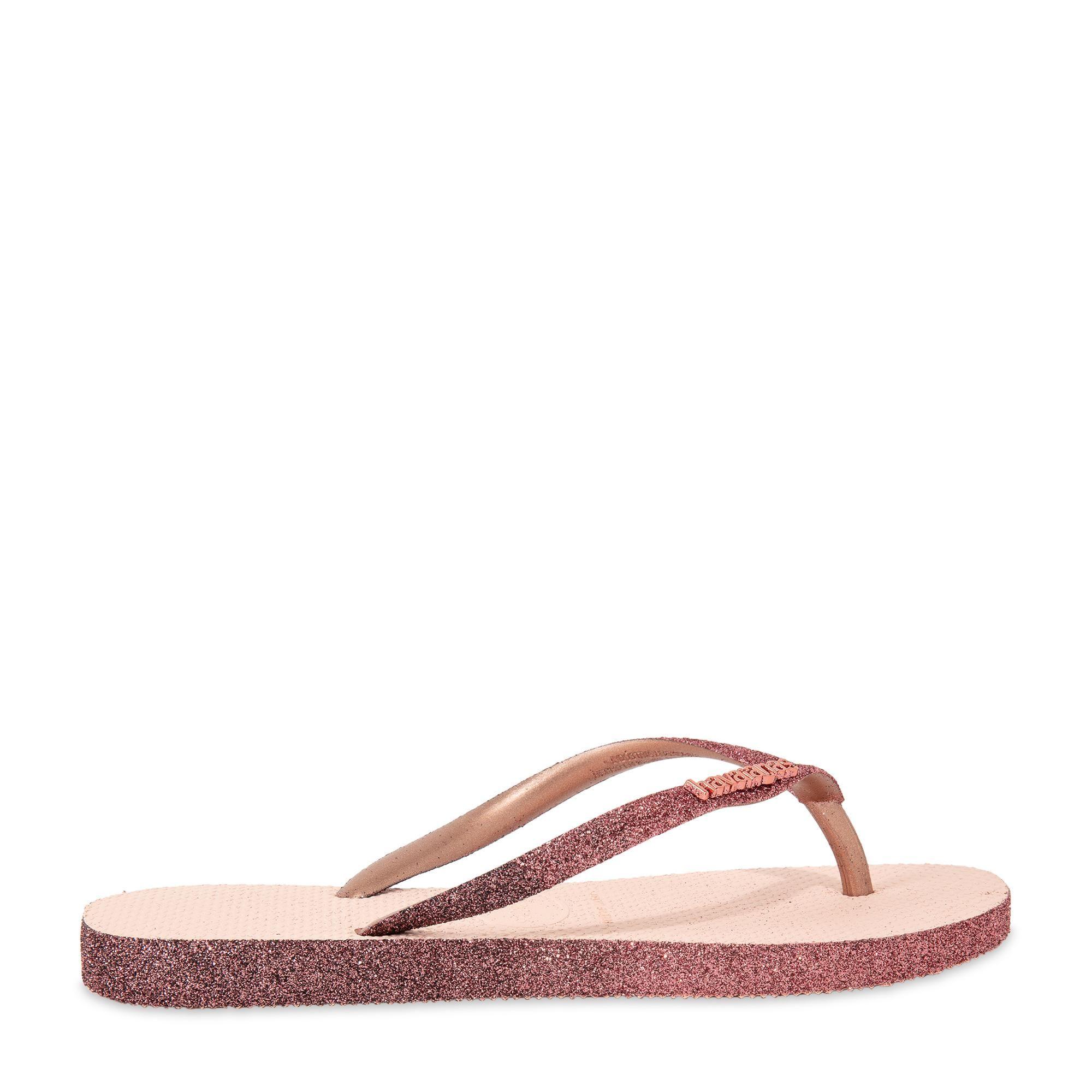 Sparkle rubber flip flops
