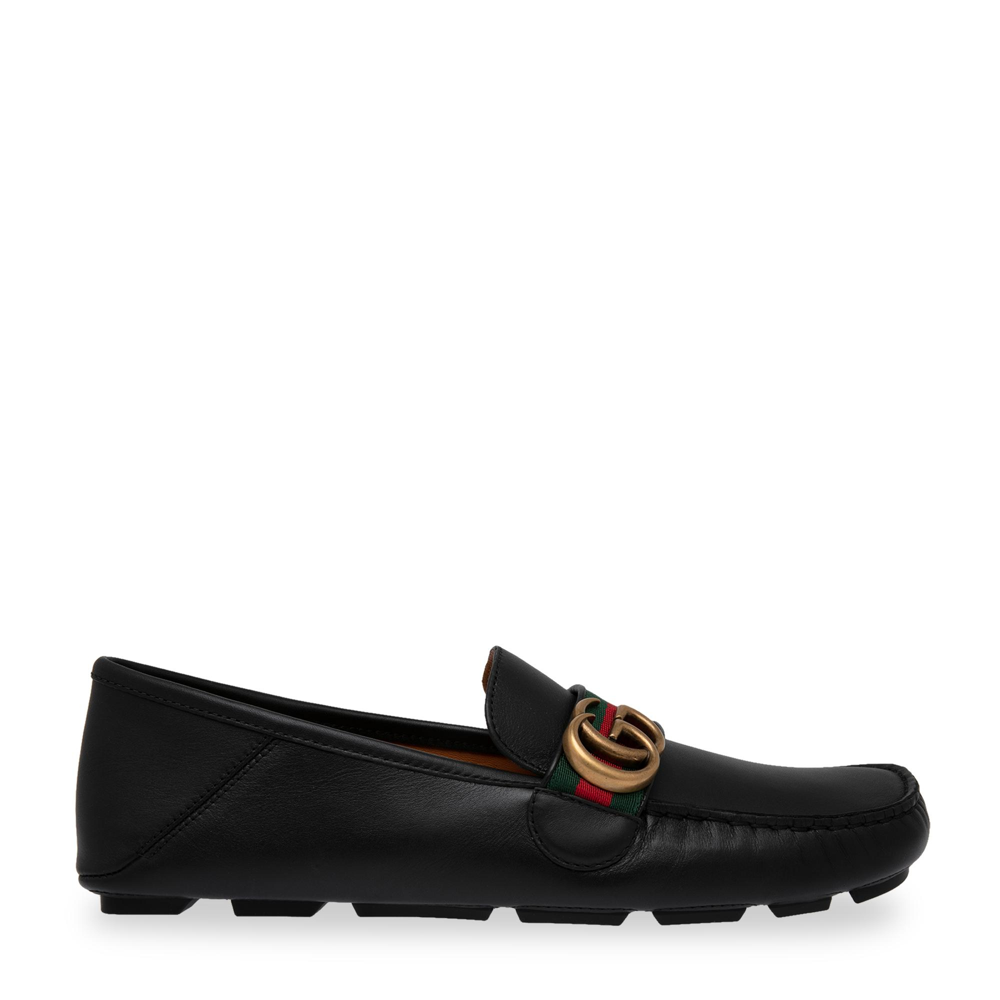 Web leather driver loafers