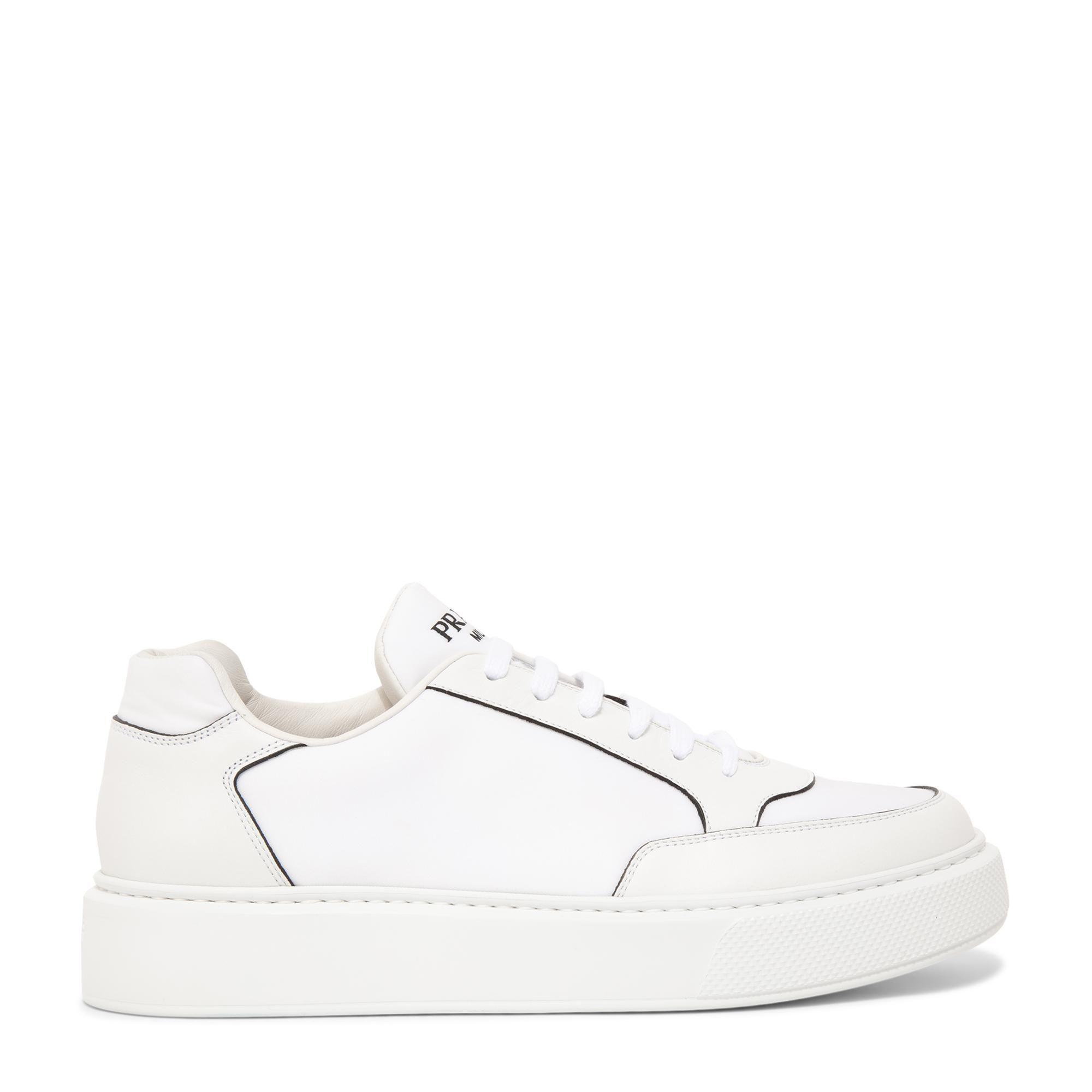 Macro leather and nylon sneakers