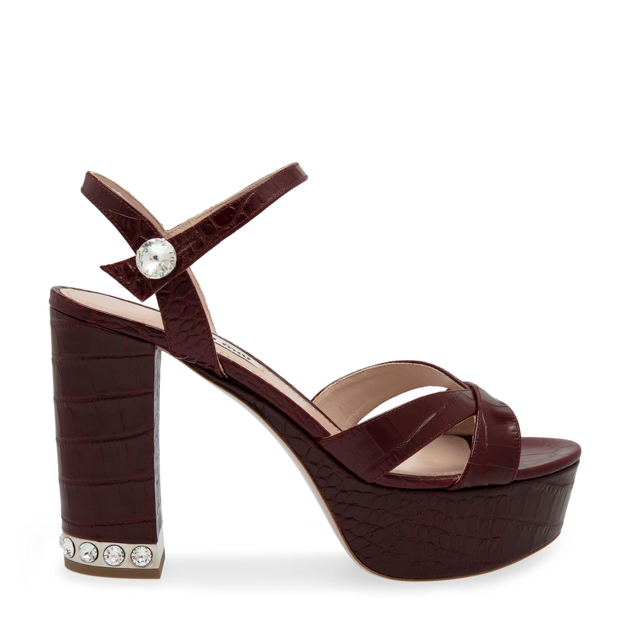Croc-print platform sandals
