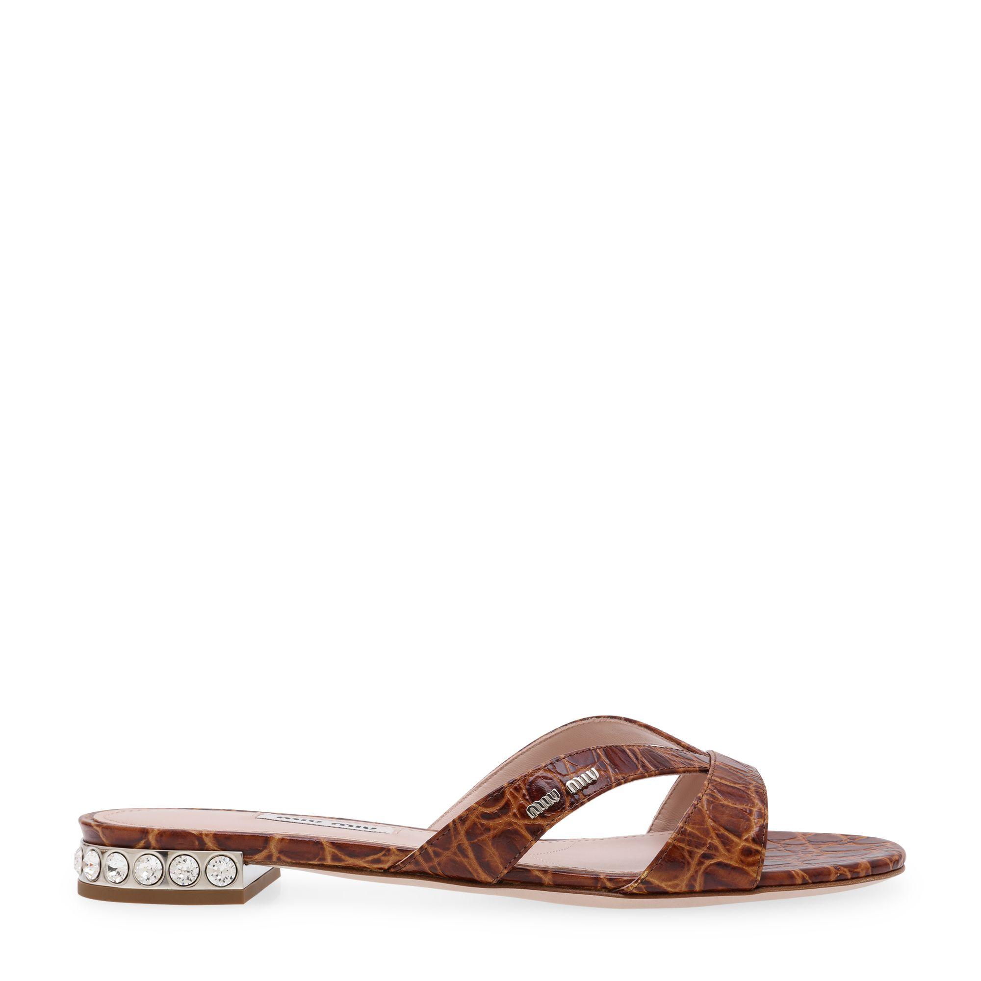 Crystal-embellished flat sandals