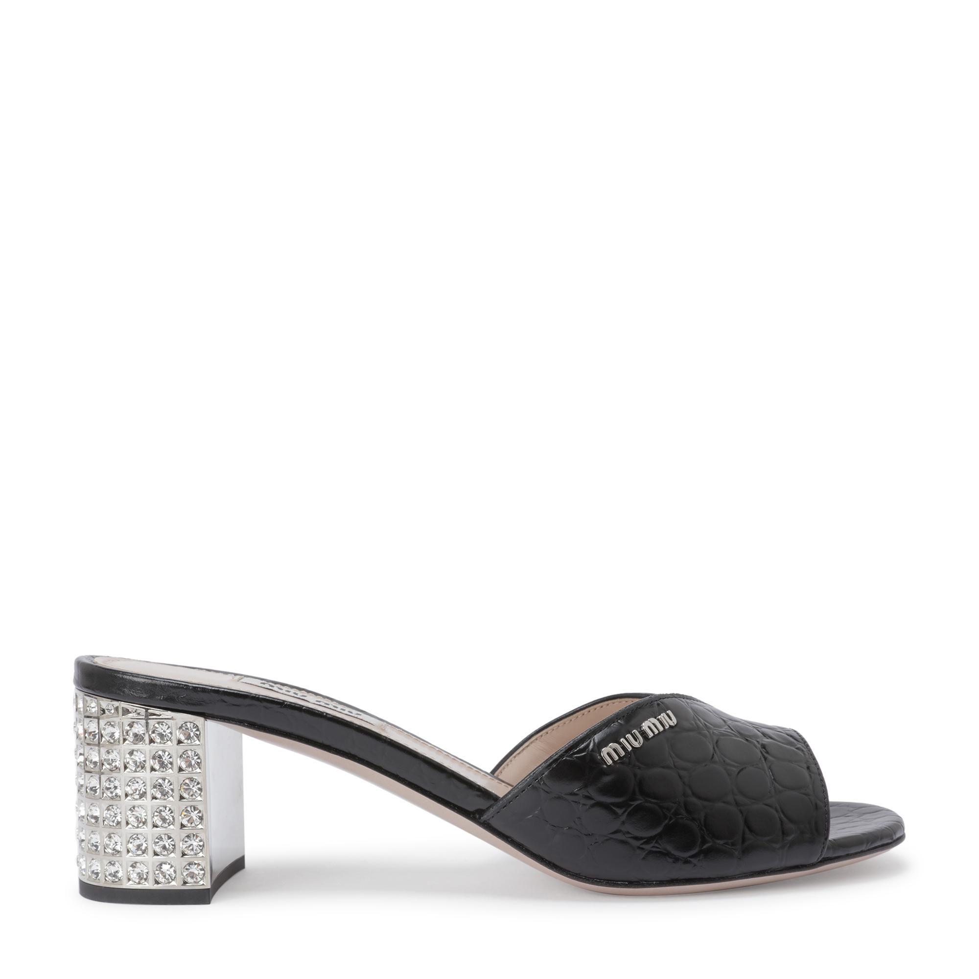 Croc-embossed leather sandals