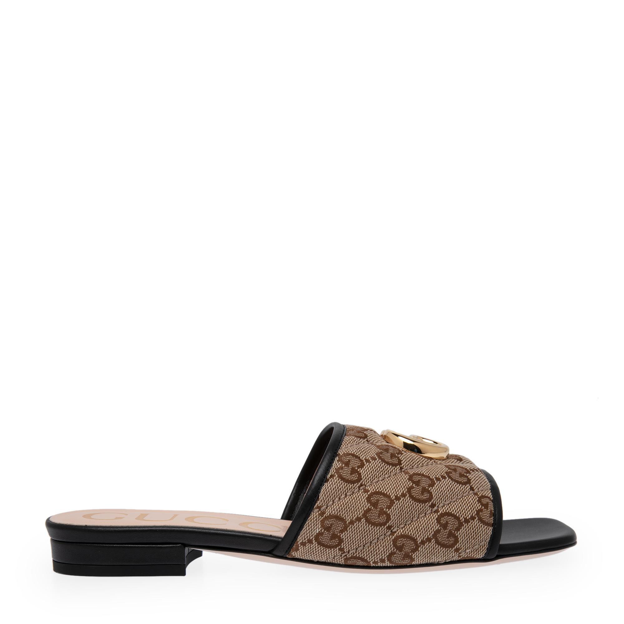 GG matelassé canvas flat sandals