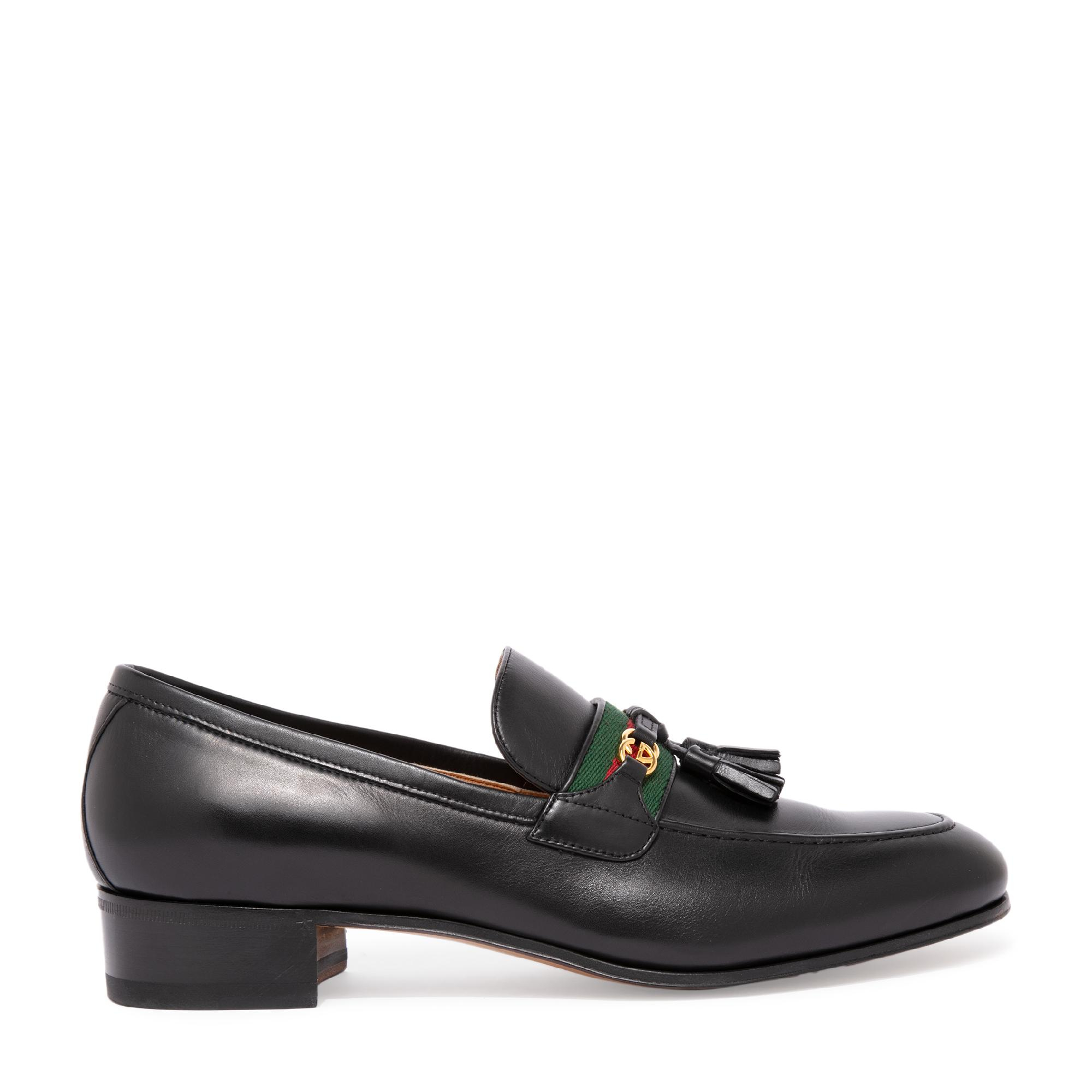 Web leather loafers
