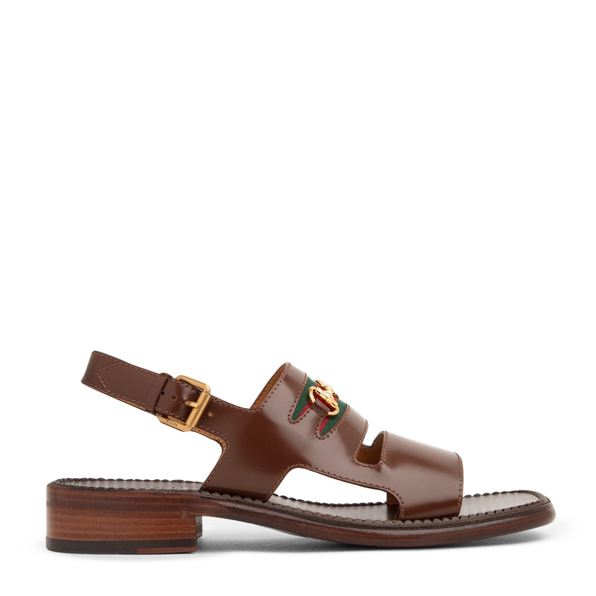 Web leather sandals