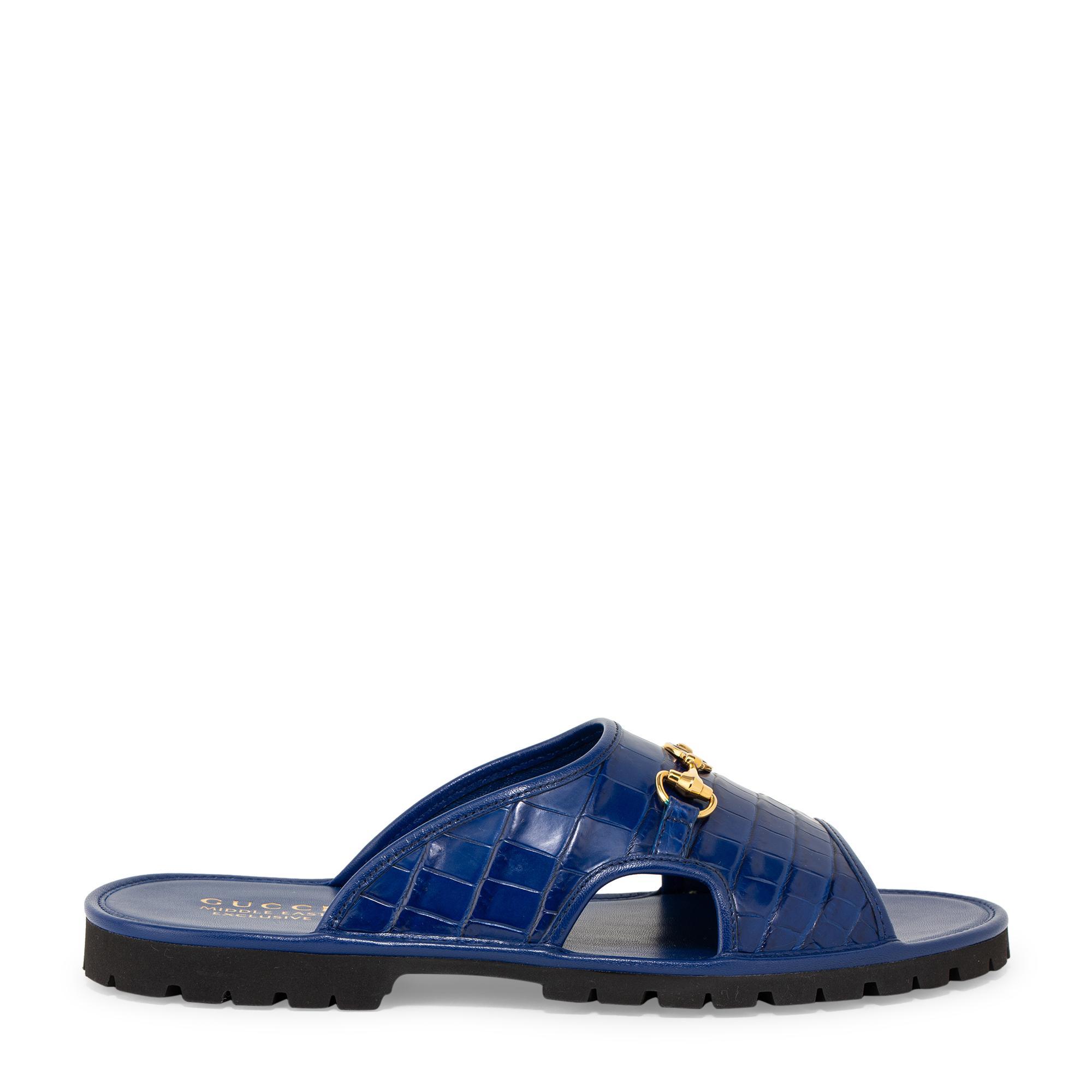 Horsebit slide sandals