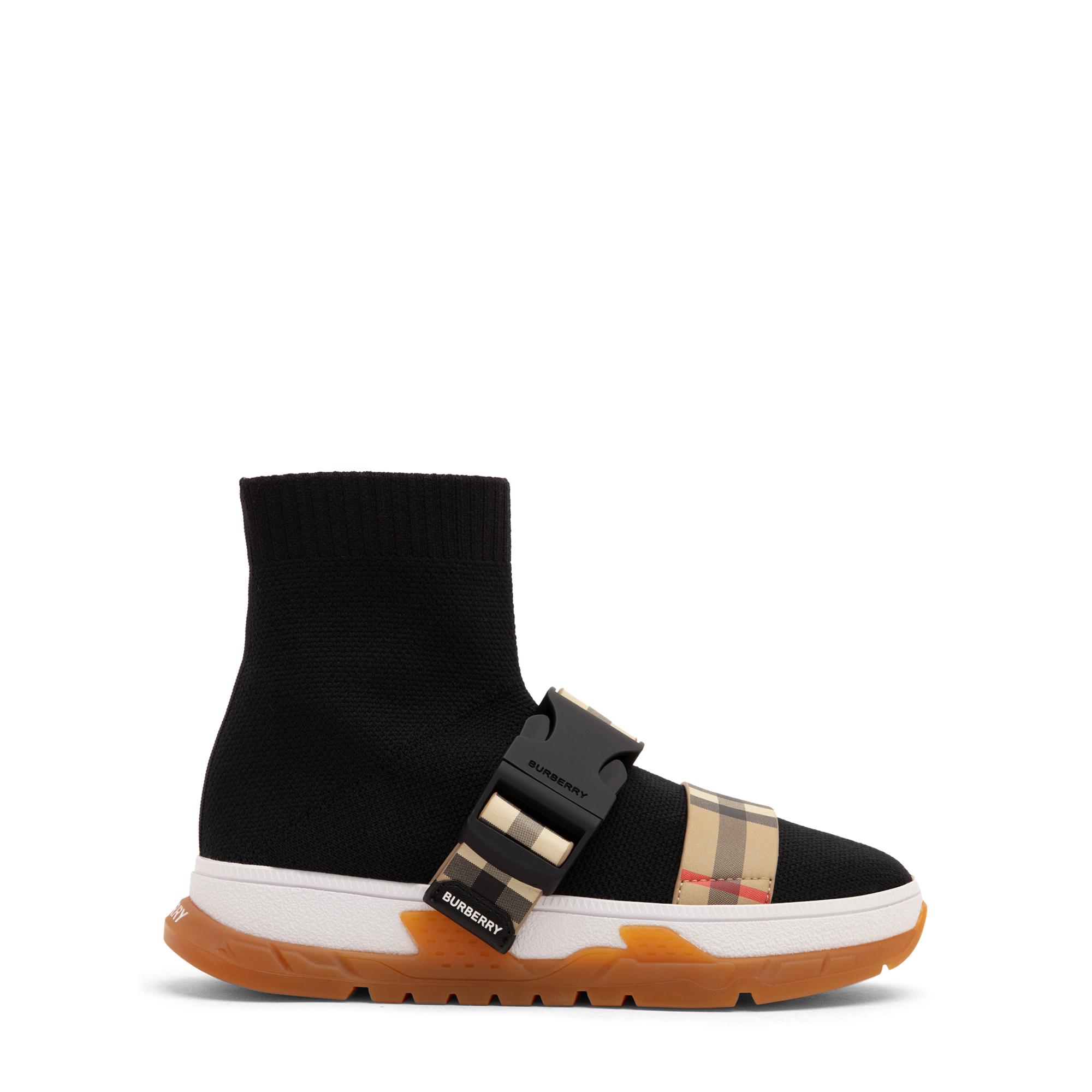 Buckled strap sock sneakers