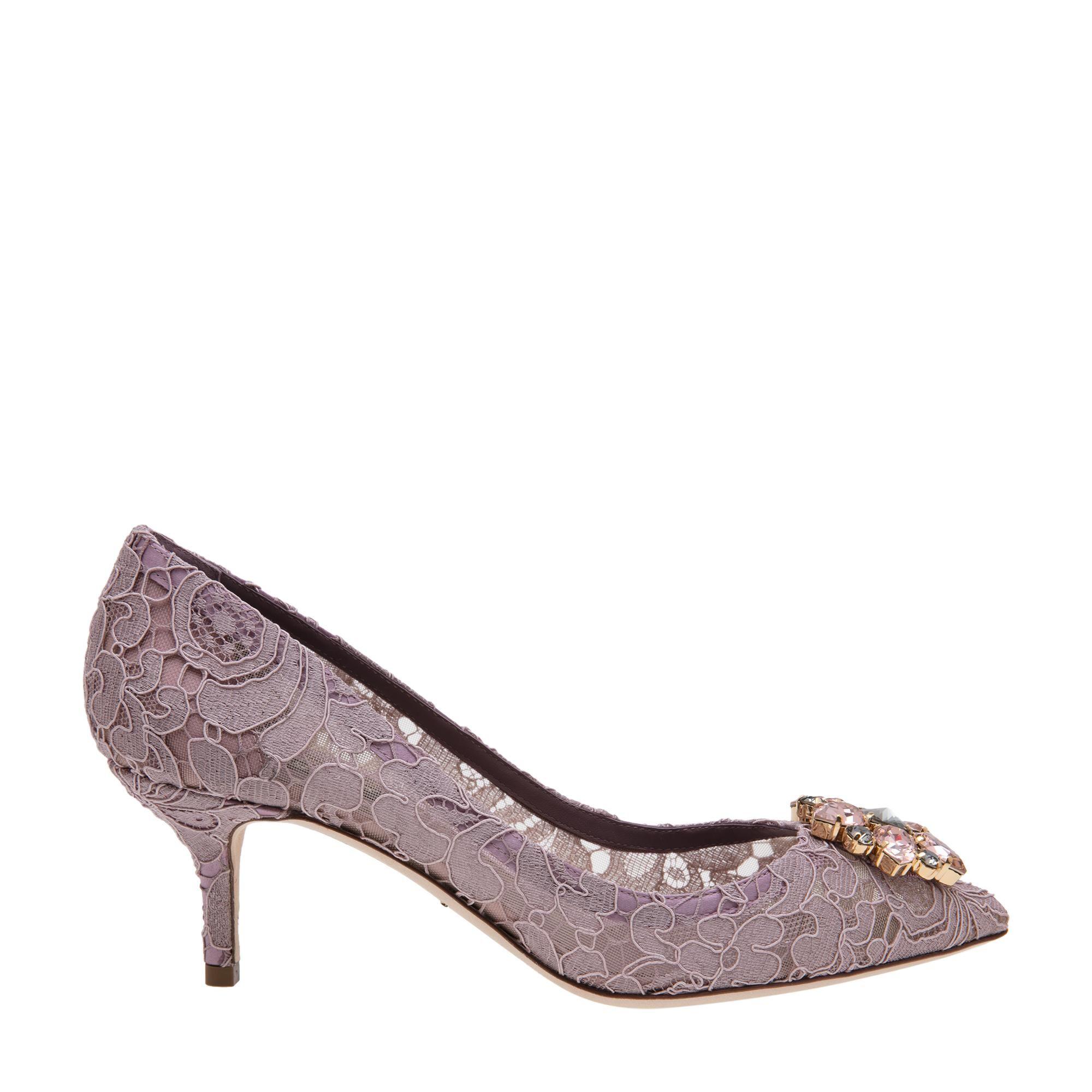 Embellished lace pumps