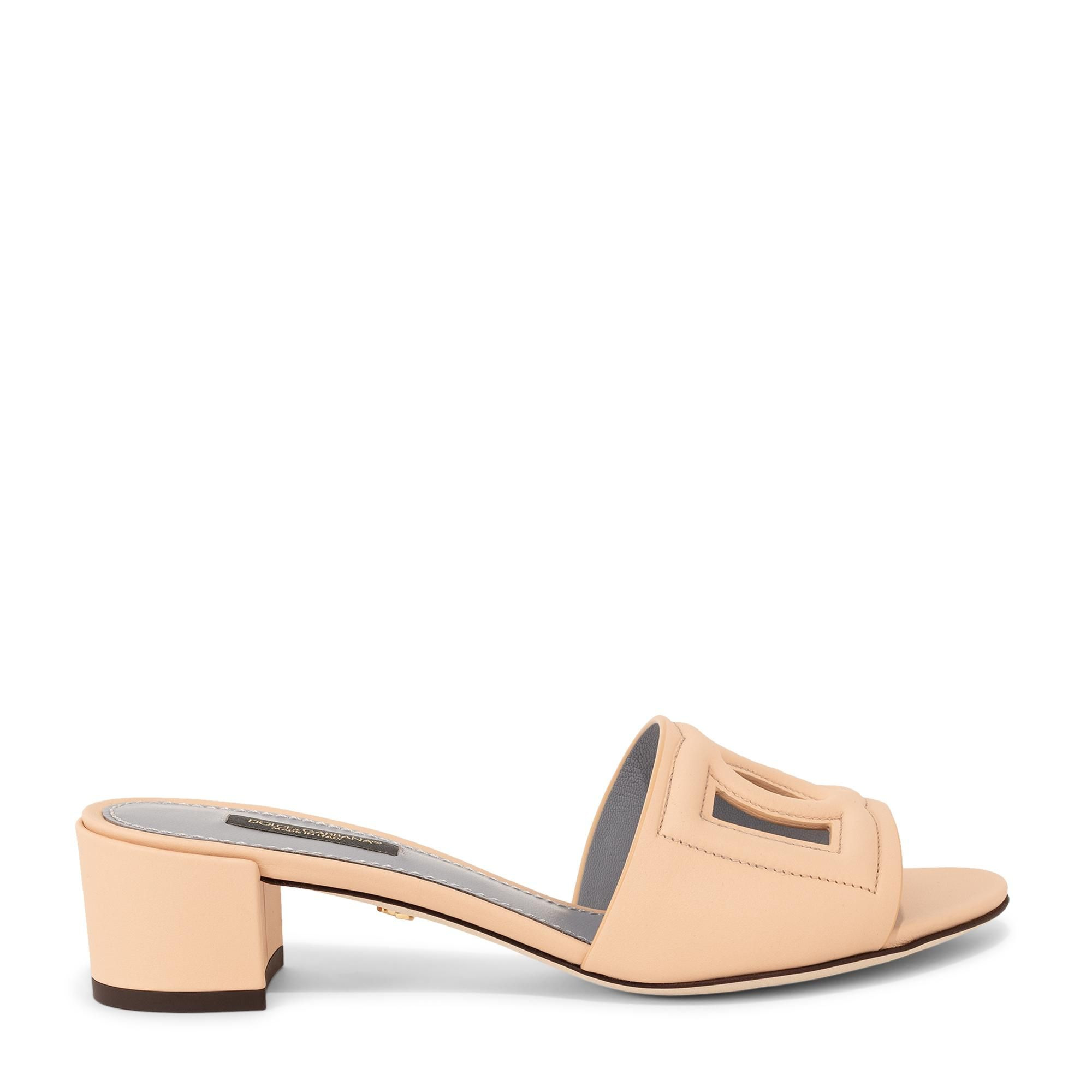 Exclusive embossed leather mules