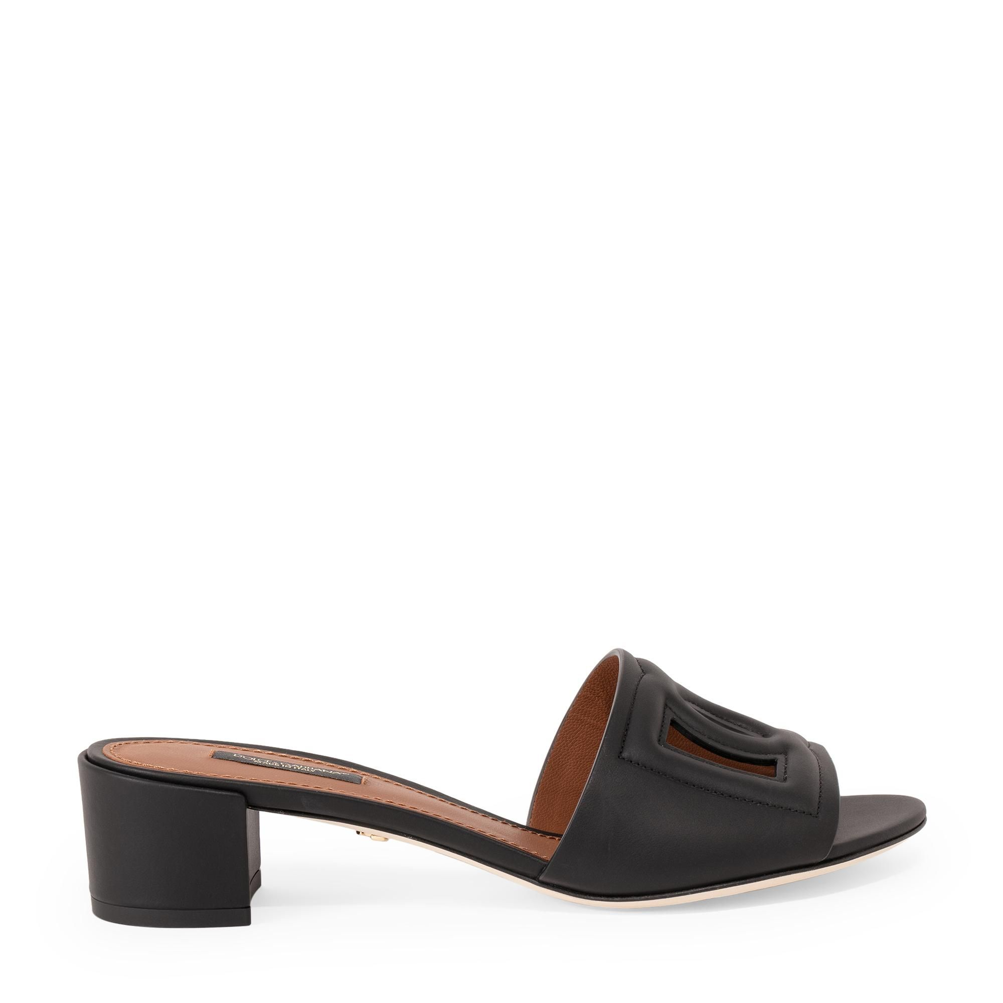 Embossed leather mules