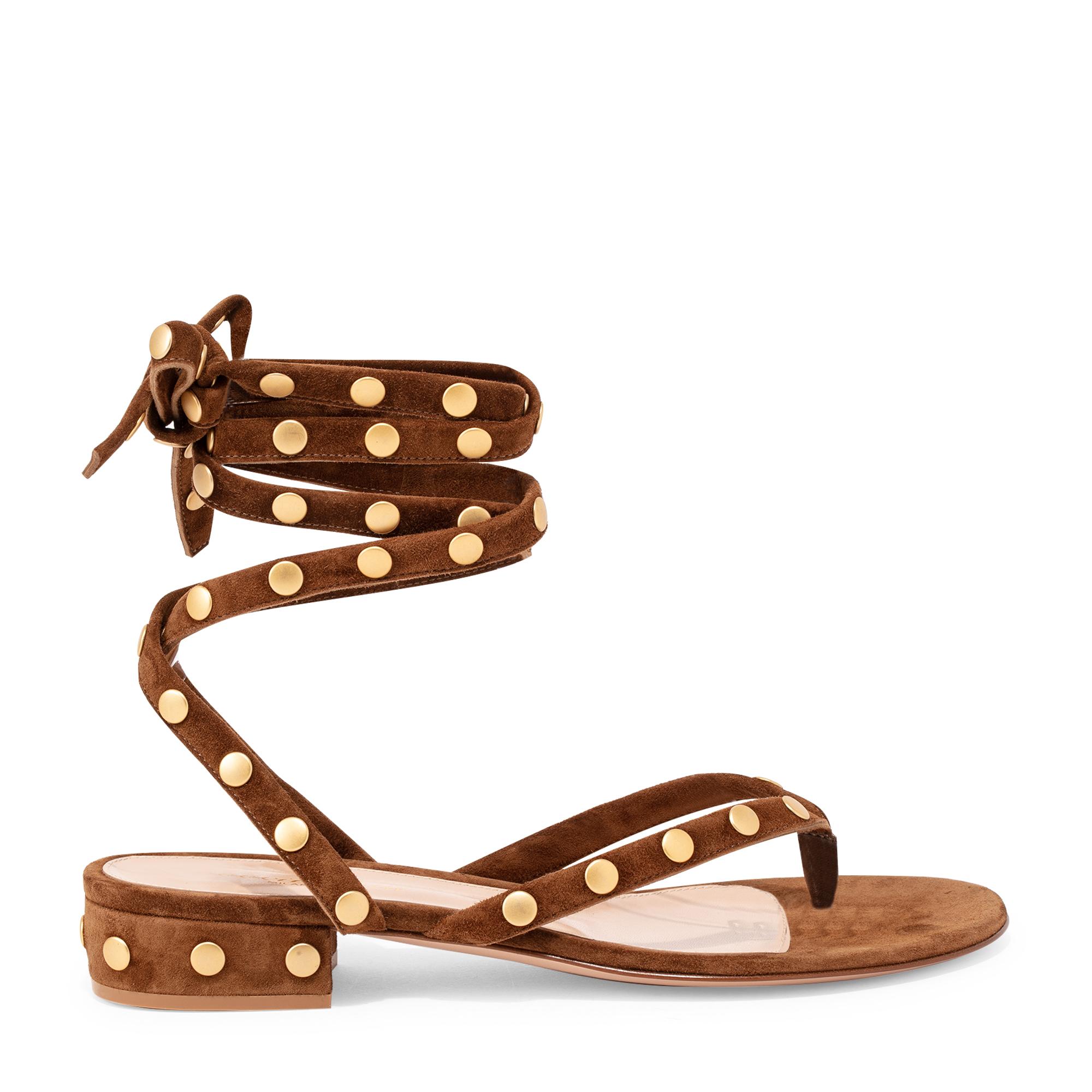 Wraparound suede stud sandals