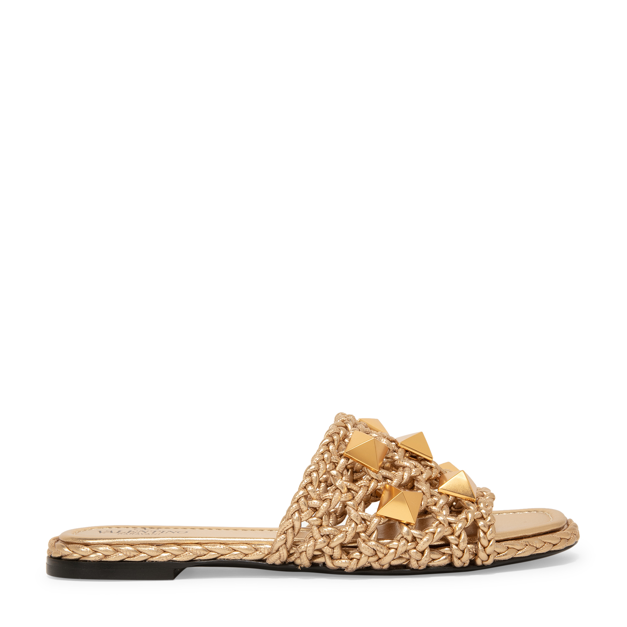 Roman Stud woven slide sandals